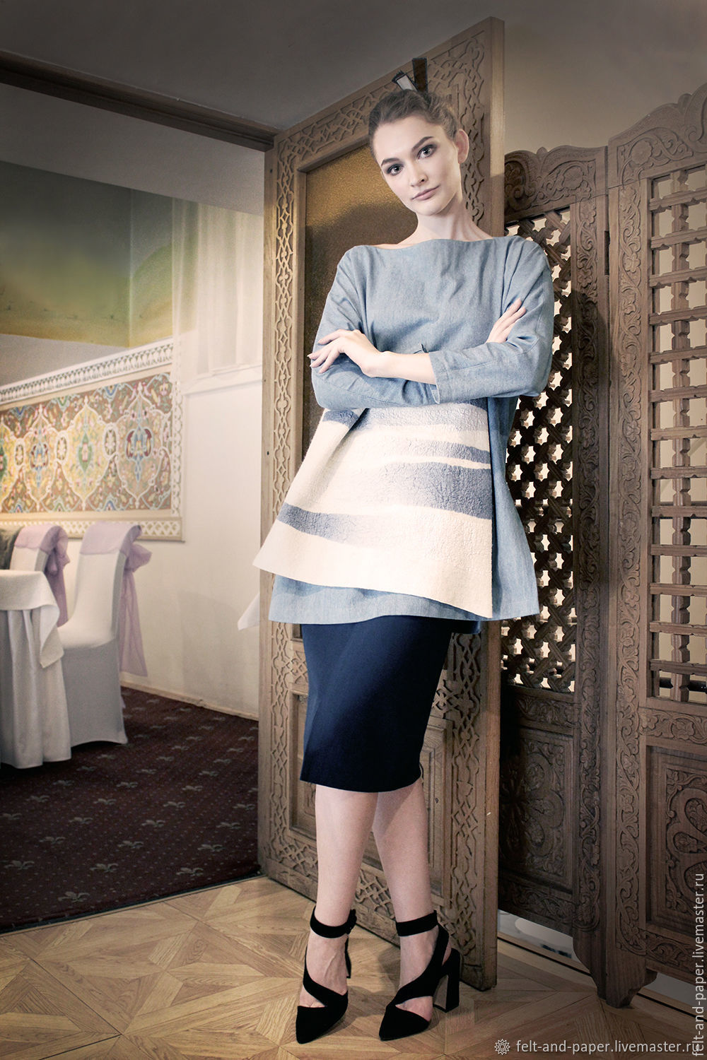 Blue Oversize Long Tunic with a decorative piece, Tunics, St. Petersburg,  Фото №1