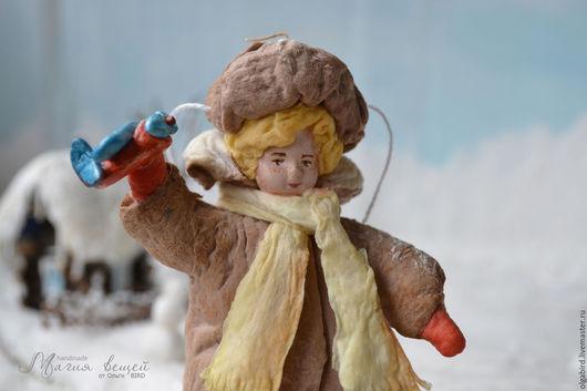 Новый год 2017 ручной работы. Ярмарка Мастеров - ручная работа. Купить Ватная елочная игрушка ГЕНКА С САМОЛЕТИКОМ. Handmade.