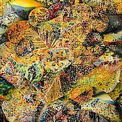 """Картины и панно ручной работы. Ярмарка Мастеров - ручная работа Батик панно """"Город"""". Handmade."""