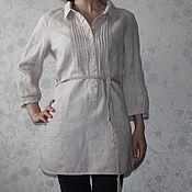 Одежда ручной работы. Ярмарка Мастеров - ручная работа Льняное платье-рубашка. Handmade.