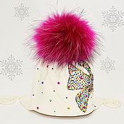 Работы для детей, ручной работы. Ярмарка Мастеров - ручная работа Мериносовая шапка с меховым помпоном. Handmade.