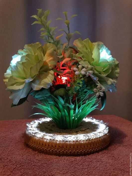 Релаксация, ароматерапия ручной работы. Ярмарка Мастеров - ручная работа. Купить светильник-ночник из роз на цветных светодиодах Лунный свет. Handmade.