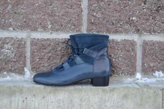 Обувь ручной работы. Ярмарка Мастеров - ручная работа. Купить Ботильоны SONYA синие комбинированные. Handmade. Синий, Каблук