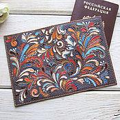 Канцелярские товары handmade. Livemaster - original item Passport cover genuine leather purple patterns dot painting. Handmade.