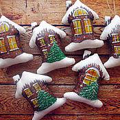 Подарки к праздникам ручной работы. Ярмарка Мастеров - ручная работа Домики. Елочные игрушки. Handmade.
