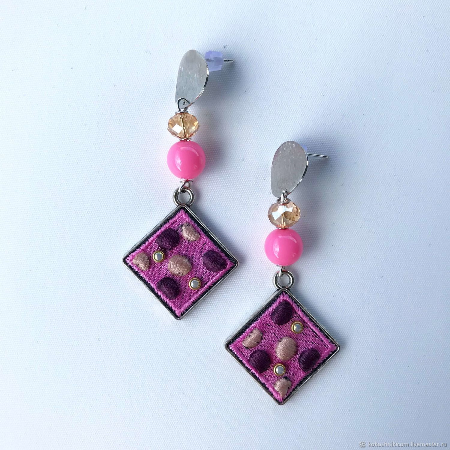 Earrings Geometry.pink rhombus peas, Earrings, Moscow,  Фото №1
