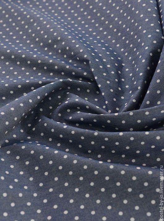 """Шитье ручной работы. Ярмарка Мастеров - ручная работа. Купить Джинсовая ткань """"Горошек"""". Handmade. Тёмно-синий, джинсовое платье"""