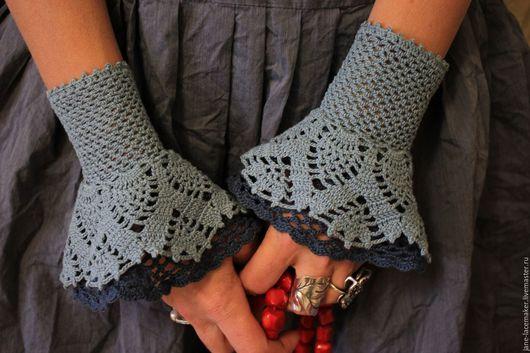 Варежки, митенки, перчатки ручной работы. Ярмарка Мастеров - ручная работа. Купить Бохо-манжеты голубые. Handmade. Голубой