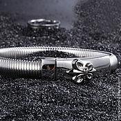 Украшения handmade. Livemaster - original item Men`s bracelet of steel with royal lily. Handmade.