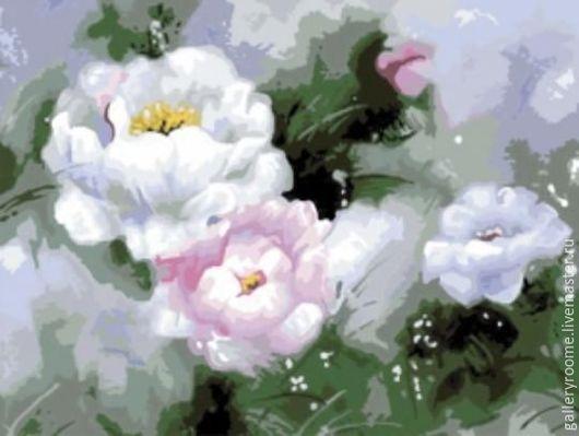 Другие виды рукоделия ручной работы. Ярмарка Мастеров - ручная работа. Купить Картина по номерам Белые пионы в акварели. Handmade.