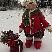 Куклы и игрушки ручной работы. Ярмарка Мастеров - ручная работа Зайчик Тильда  новогодний. Handmade.