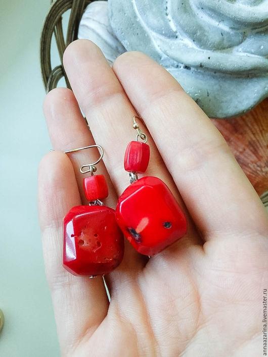 Серьги ручной работы. Ярмарка Мастеров - ручная работа. Купить Серьги из красного коралла. Handmade. Красный коралл, натуральные камни