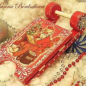 """Сувениры и подарки ручной работы. Ярмарка Мастеров - ручная работа Новогодние саночки """"Дед Мороз"""". Handmade."""