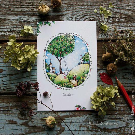 Открытки на все случаи жизни ручной работы. Ярмарка Мастеров - ручная работа. Купить открытка иллюстрированная Garden. Handmade. Комбинированный, сад