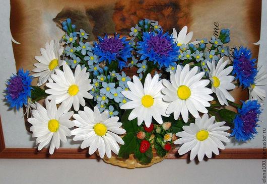 Цветы ручной работы. Ярмарка Мастеров - ручная работа. Купить Картина с полевыми цветами - керамическая флористика. Handmade. Букет цветов