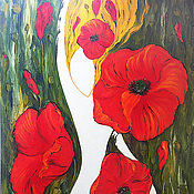Картины и панно handmade. Livemaster - original item Sleeping in the poppies, oil painting. Handmade.