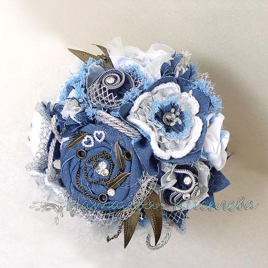 Свадебные цветы ручной работы. Ярмарка Мастеров - ручная работа. Купить Букет Джинсовый Анжелика. Handmade. Джинсовый букет