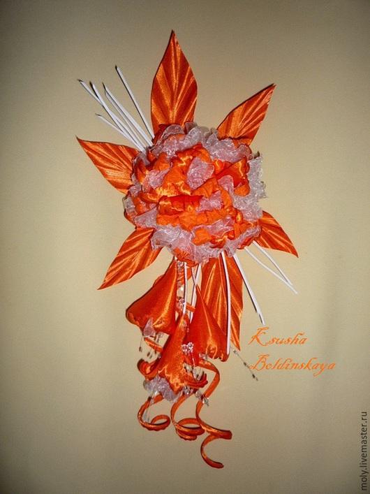 Броши ручной работы. Ярмарка Мастеров - ручная работа. Купить Орхидея. Handmade. Рыжий, цветы из ткани, цветок из шелка, органза