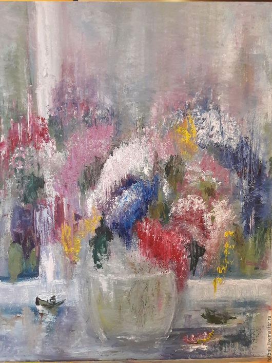 """Картины цветов ручной работы. Ярмарка Мастеров - ручная работа. Купить Сиреневый """"водопад"""". Handmade. Комбинированный, цветы, сирень в вазе"""