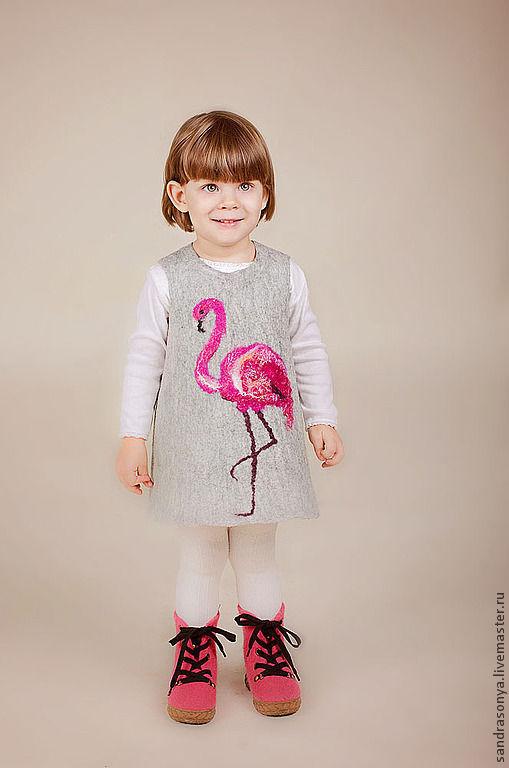 """Одежда для девочек, ручной работы. Ярмарка Мастеров - ручная работа. Купить Сарафан войлочный для девочки """"Розовый Фламинго"""". Handmade."""