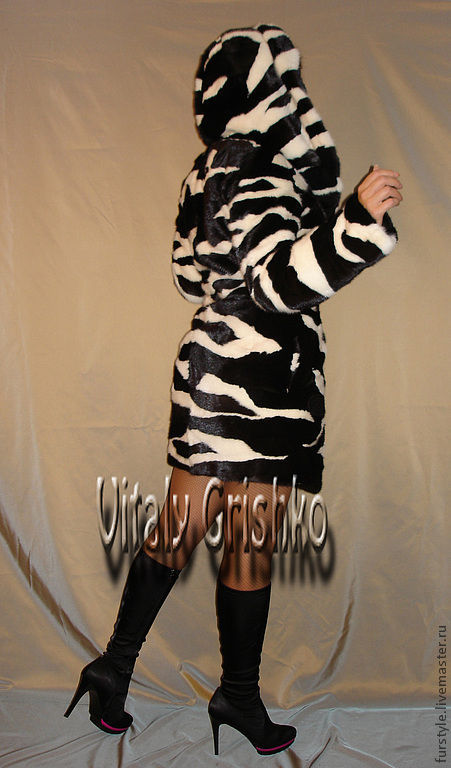 """Верхняя одежда ручной работы. Ярмарка Мастеров - ручная работа. Купить Авторская шуба """"Zebra"""". Handmade. Чёрно-белый, мех"""