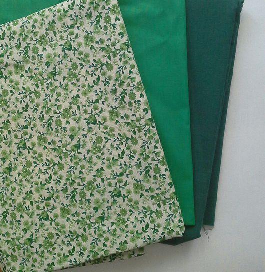 Шитье ручной работы. Ярмарка Мастеров - ручная работа. Купить Ткань лен с зелеными цветами. Handmade. Лен, натуральный лен