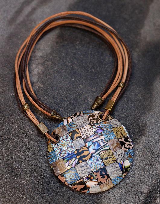 Кулоны, подвески ручной работы. Ярмарка Мастеров - ручная работа. Купить кулон полимерной глины мозаика цветная. Handmade. Разноцветный
