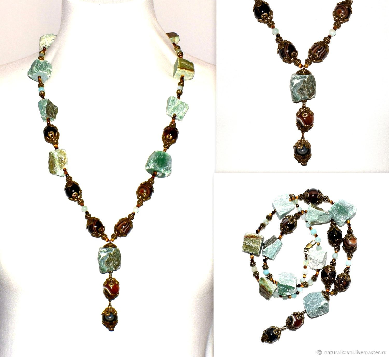 Necklace/sautoir made of natural stones agate aventurine, Necklace, Moscow,  Фото №1