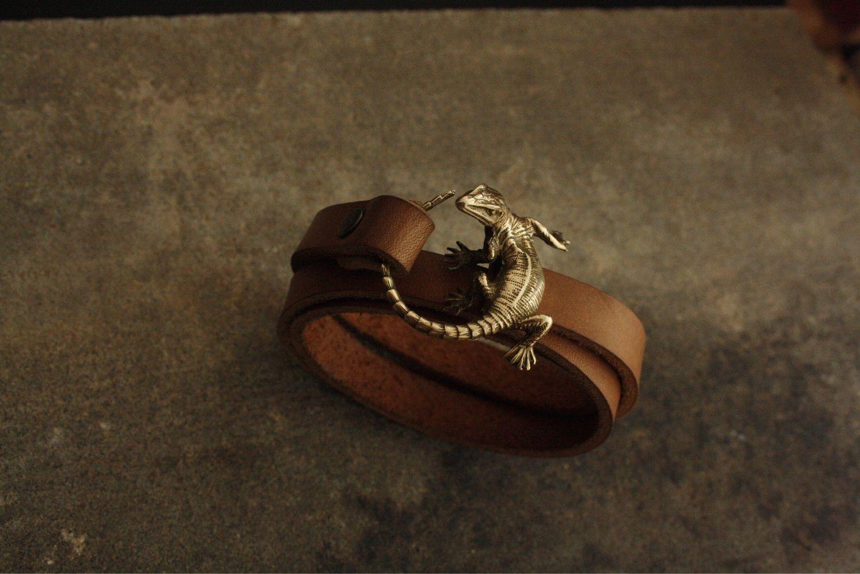 Womens leather bracelet - 'Lizard', Bead bracelet, Volgograd,  Фото №1