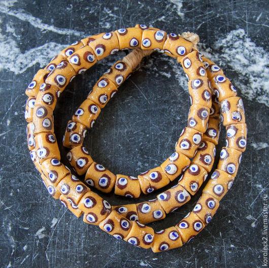 Для украшений ручной работы. Ярмарка Мастеров - ручная работа. Купить Желтые с коричневыми глазками стеклянные бусины-трубочки 13 мм, Африка. Handmade.