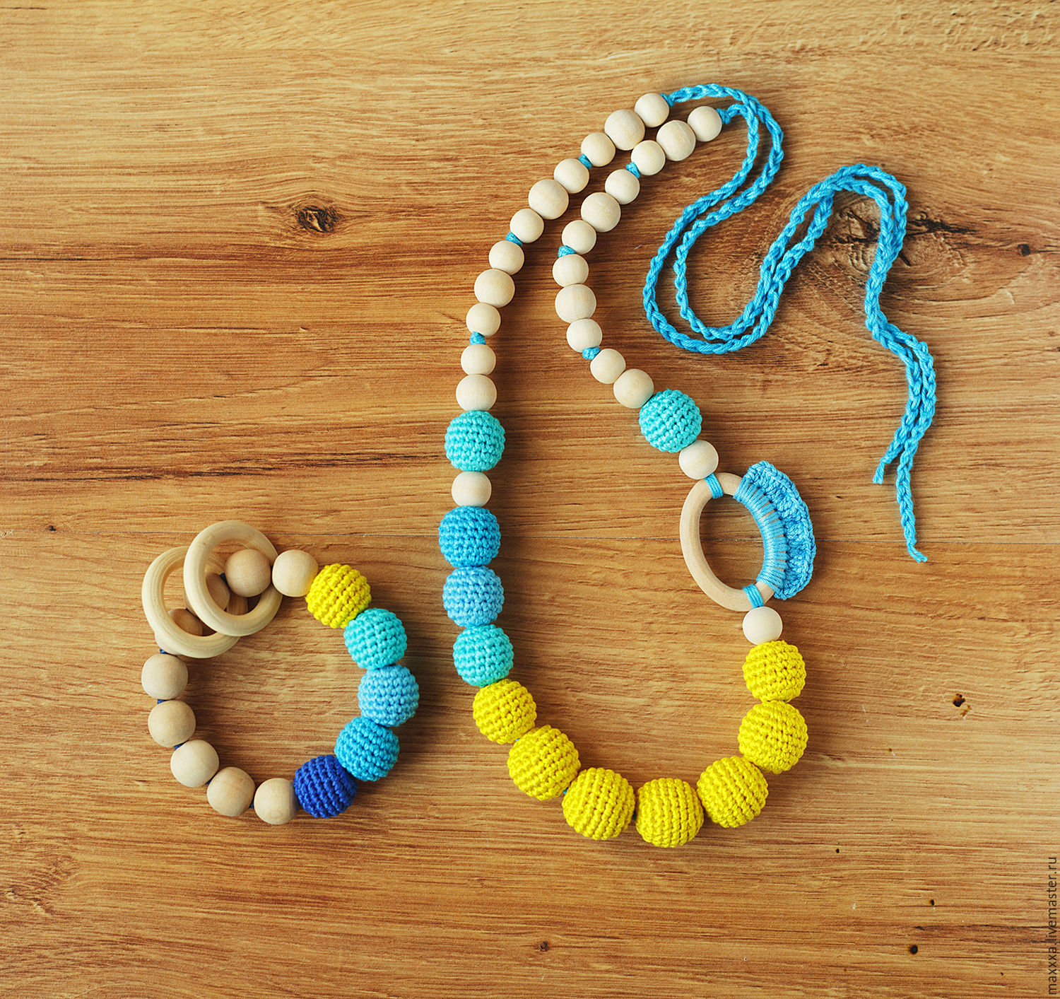 yellow turquoise nursing teething necklace and wooden baby teether set