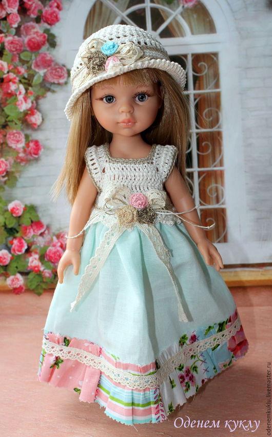 Одежда для кукол ручной работы. Ярмарка Мастеров - ручная работа. Купить Льняное платье для куклы. Handmade. Голубой, платье на куклу