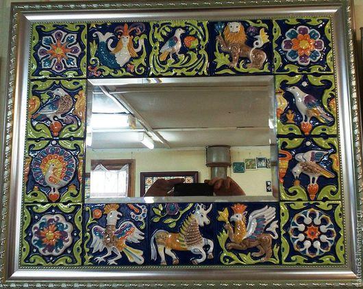 """Зеркала ручной работы. Ярмарка Мастеров - ручная работа. Купить Зеркало  """"Сказка"""" обрамленное изразцами.. Handmade. Зеркала, дизайн интерьера"""
