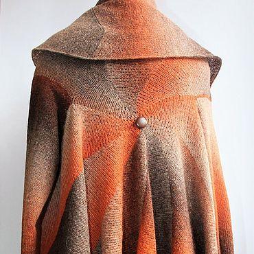 Одежда ручной работы. Ярмарка Мастеров - ручная работа Вязаное круглое нарядное пальто демисезонное из шерсти Осеннее рыжее. Handmade.