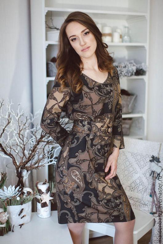 Платья ручной работы. Ярмарка Мастеров - ручная работа. Купить Платье из шерсти. Handmade. Оливковый, платье средней длины