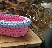 Для дома и интерьера ручной работы. Ярмарка Мастеров - ручная работа Корзинка для мелочек овальная розовая. Handmade.