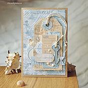 Открытки ручной работы. Ярмарка Мастеров - ручная работа Мужская открытка для настоящего капитана. Handmade.