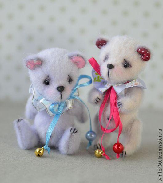 Мишки Тедди ручной работы. Ярмарка Мастеров - ручная работа. Купить Лиловые медвежата. Handmade. Бледно-сиреневый, миники