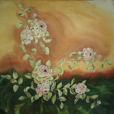 Шали, палантины ручной работы. Ярмарка Мастеров - ручная работа. Купить Платок Розовая лиана. Handmade. Шелковый платок, batik