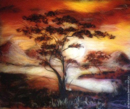 """Пейзаж ручной работы. Ярмарка Мастеров - ручная работа. Купить Картина из шерсти """"Африканские мотивы"""". Handmade. Коричневый, картина для интерьера"""