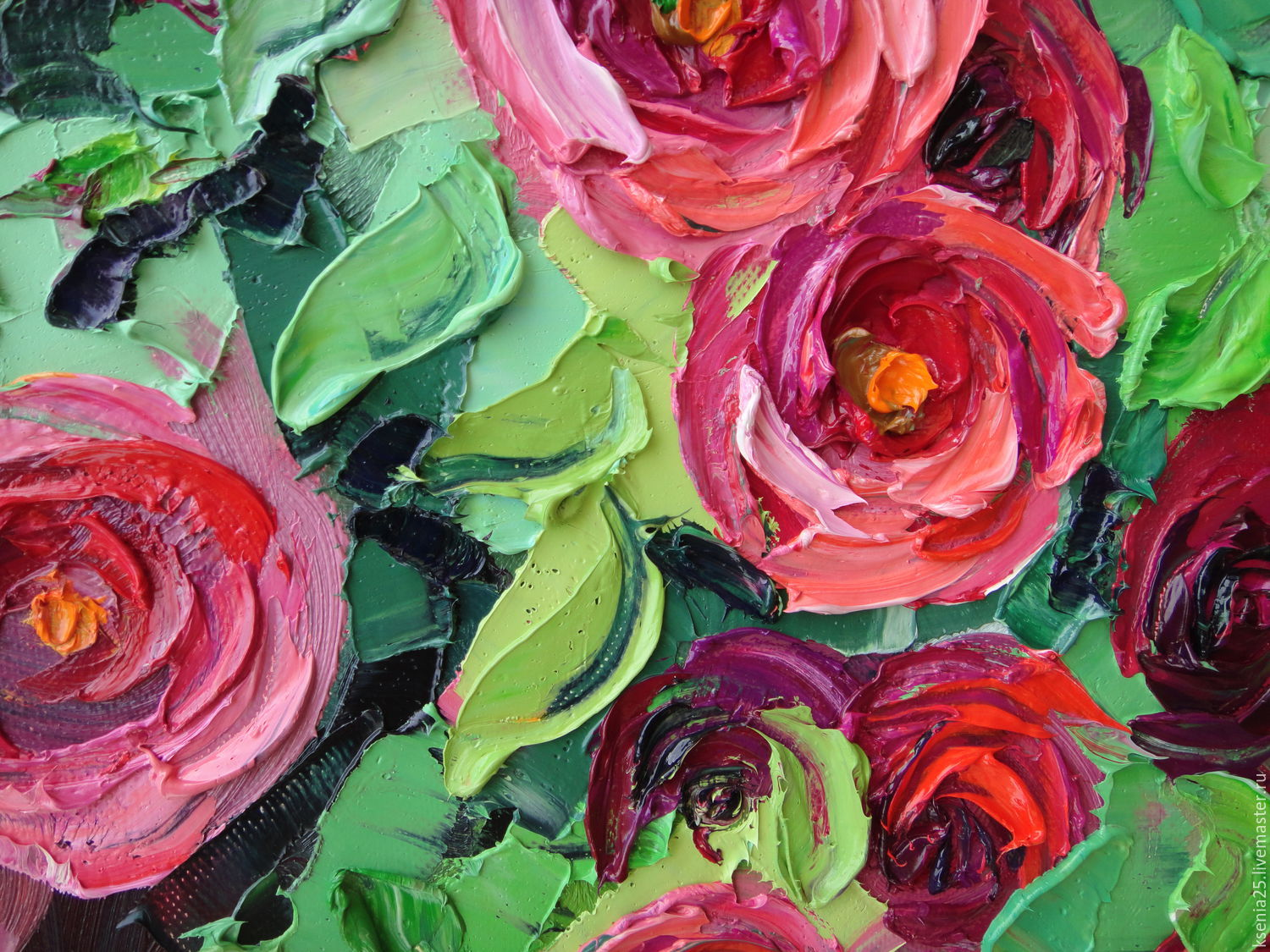 Oil painting Red roses - shop online on Livemaster with shipping - 9FXJPCOM   Rossosh