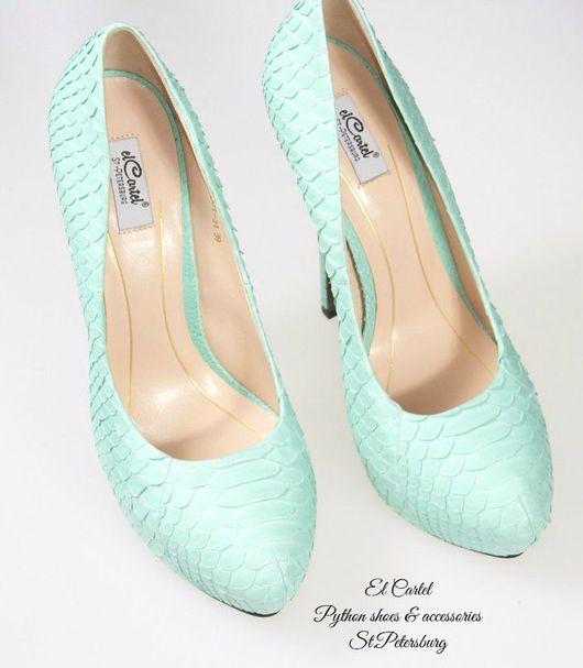 Обувь ручной работы. Ярмарка Мастеров - ручная работа. Купить Туфли на скрытой платформе и каблуке из питона. Handmade. Туфли