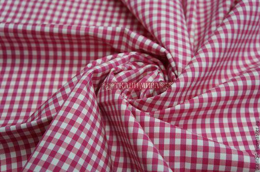 Шитье ручной работы. Ярмарка Мастеров - ручная работа. Купить Ткань сороч. клетка виши, 150 см, розовый. Handmade.