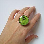 Украшения handmade. Livemaster - original item Large Ring Bright Green Frog. Handmade.