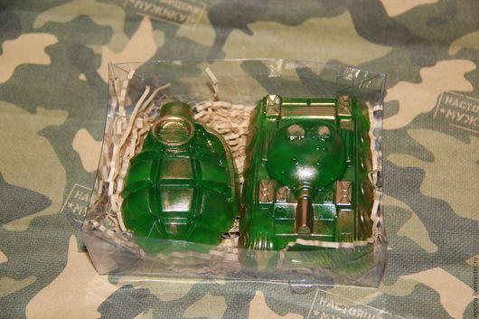 """Мыло ручной работы. Ярмарка Мастеров - ручная работа. Купить набор мыло """"Танк и граната"""". Handmade. Зеленый, граната"""