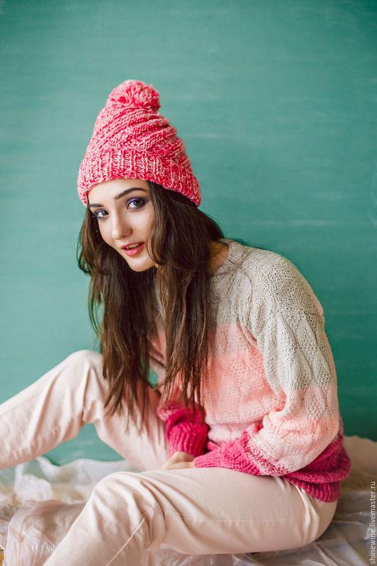 Кофты и свитера ручной работы. Ярмарка Мастеров - ручная работа. Купить зефирный свитер. Handmade. Бледно-розовый, свитер спицами