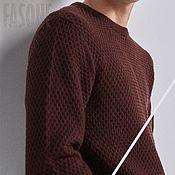 Свитеры ручной работы. Ярмарка Мастеров - ручная работа Свитеры: Бордовый свитер мужской Мужской свитер. Handmade.