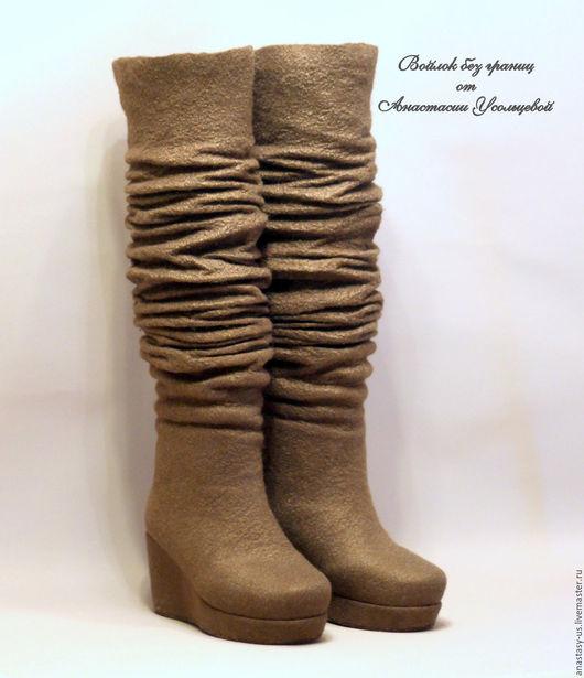 """Обувь ручной работы. Ярмарка Мастеров - ручная работа. Купить Сапожки валяные """"Бобер"""". Handmade. Коричневый, сапоги валяные"""