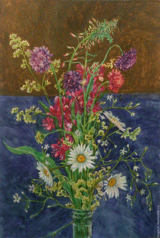 """Картины цветов ручной работы. Ярмарка Мастеров - ручная работа. Купить Картина акварелью """"Летний букет"""". Handmade. Комбинированный, цветы"""