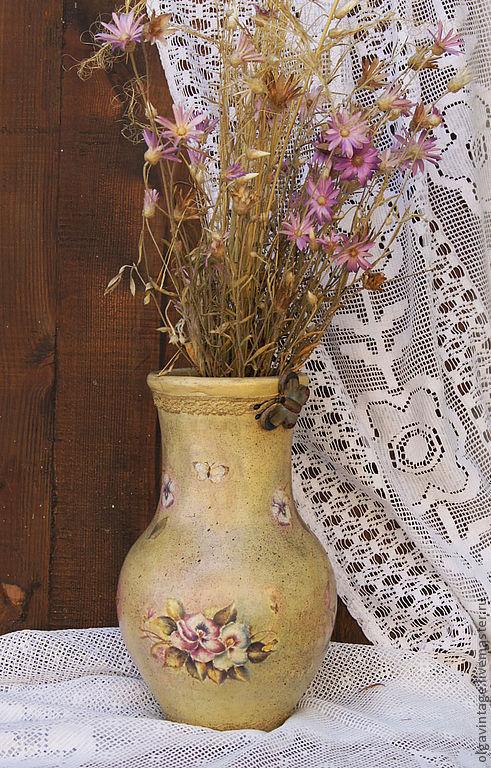 Кухня ручной работы. Ярмарка Мастеров - ручная работа. Купить Крынка Заброшенный сад. Handmade. Бежевый, кувшин глиняный, старинная